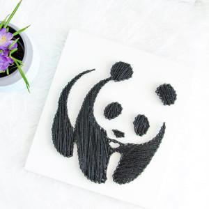 Obraz na ścianę Panda Miś String Art Biały Dzieci
