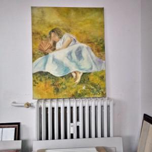 """Obraz olejny """"Kobieta z wachlarzem"""""""