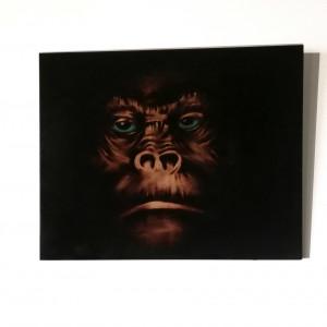 Obraz wypalony w drewnie. Małpa. Pirografia.