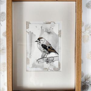 Obrazek odręcznie malowany do domu Ptak Mysikrólik