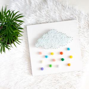 Obrazek pokój dziecka Kolorowy deszcz String Art