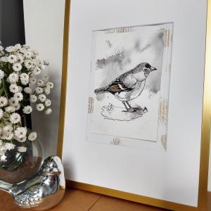 Obrazek ręcznie malowany do domu Ptaki Zięba
