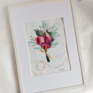 Obrazek ręcznie malowany z ramą Bukiet kwiaty