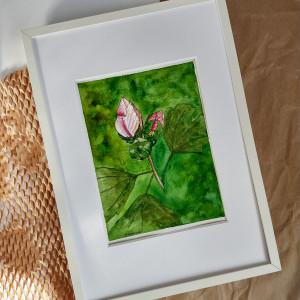 Obrazek ręcznie malowany z ramą W ogrodzie