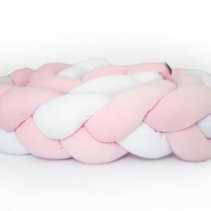 Ochraniacz do łóżeczka 210 cm biało(1) różowy(2)
