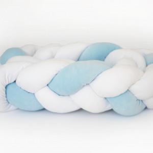 Ochraniacz do łóżeczka 210 cm biało(2) niebieski