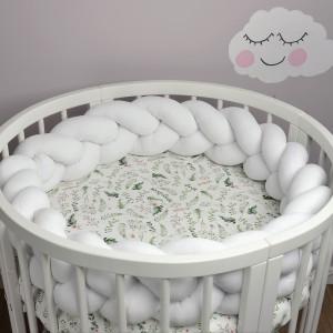 Ochraniacz do łóżeczka 210 cm warkocz biały(3)