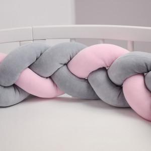 Ochraniacz do łóżeczka 210 cm warkocz sz(2)-róż(1)