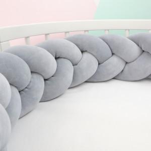 Ochraniacz do łóżeczka 210 cm warkocz szary(3)