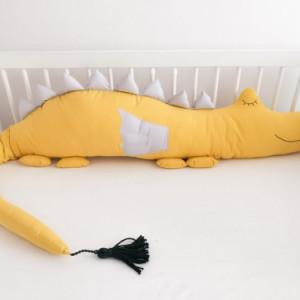 Ochraniacz do łóżeczka musztarda smokozaur