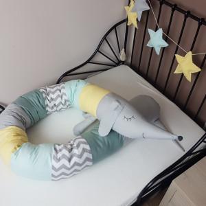 Ochraniacz do łóżeczka wałek miętowy 03