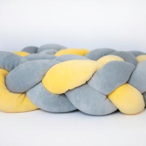 Ochraniacz do łóżeczka warkocz szaro(2) żółty(1)