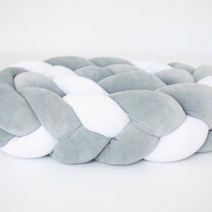 Ochraniacz do łóżka warkocz szaro(2) biały(1)
