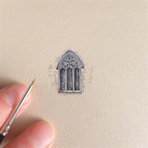 Okno katedry, miniatura 2,5 cm !  średniowiecze