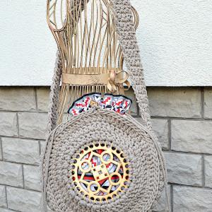Okrągła, duża torebka beżowa, aztecka