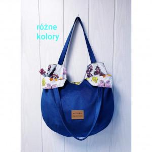 Okrągła niebieska torebka z tk. zamsz..+ róż