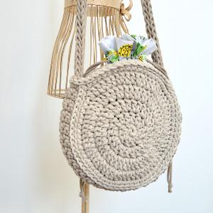 Okrągła torebka beż i kaktusy