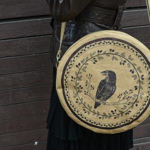 Okrągła torebka z papieru [beżowa] z rysunkami
