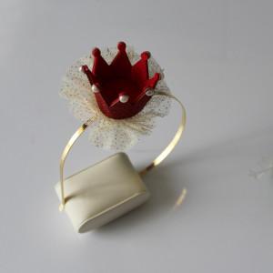 Opaska czerwona brokatowa korona