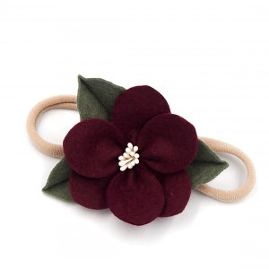 Opaska do włosów kwiatek jesienny burgund