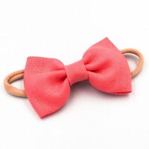 Opaska do włosów z kokardą coral pink LINEN