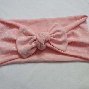 opaska kokarda różowa kropeczki
