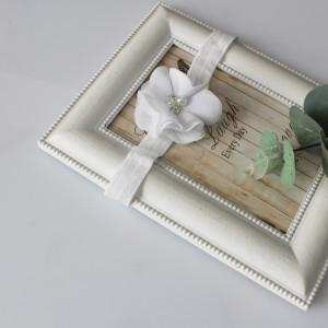 Opaska kwiatuszek biały cyrkonie chrzest