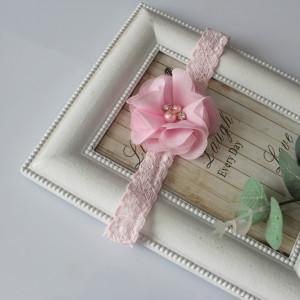 Opaska kwiatuszek różowy cyrkonie