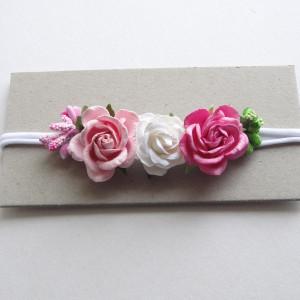 opaska mini wianek kwiaty różyczki nie uciska