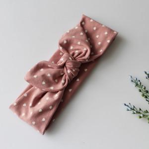 Opaska  pin up szeroka 8 cm serduszka brudny róż