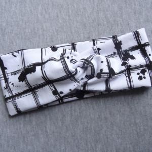 opaska przeplatana twist bawełna biel czerń