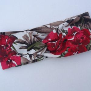 opaska przeplatana twist  czerwone kwiaty