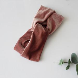 OPASKA TURBAN brudny róż welur DAMSKA