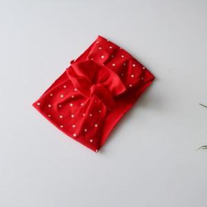 Opaska  turban falbanka czerwona kropki