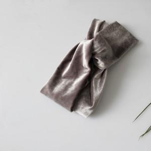 OPASKA TURBAN srebrno szara welur DAMSKA