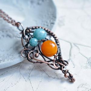 Orange and blue sky - naszyjnik