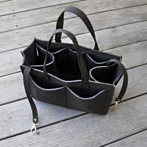 Organizer do torebki -dużo kieszonek -czarny filc