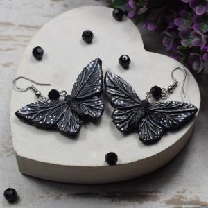 Oryginalne kolczyki czarne motyle