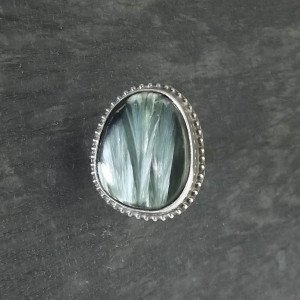 Oryginalny pierścionek srebro i serafinit