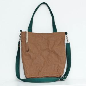 Papierowa torba! Brąz i zieleń butelkowa