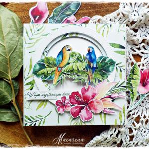 Papużki - kartka ślubna