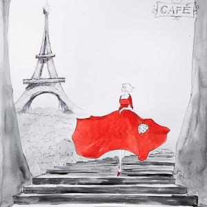 """""""PARYSKI LUZ"""" akwarela, Paryż, Wieża Eiffla"""