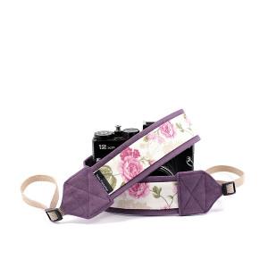 Pasek do aparatu camera strap Kwiaty na fiolecie