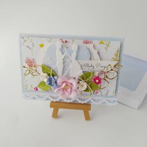Pastele - kartka na ślub z Młodą Parą-w pudełku