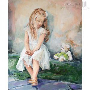 Pastelowa dziewczynka z misiem