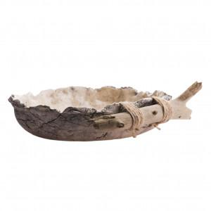 Patera / Misa ceramiczna nakrapiana z drewnem