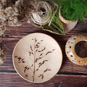 Patera roślinna ceramika odbite rośliny