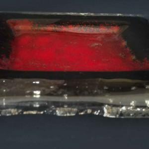 Patera szklana mała Czerwona magma