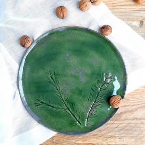 Patera zielona z gałązką