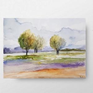 Pejzaż z drzewami  -akwarela formatu A5